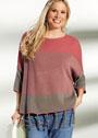 Для полных дам. Двухцветный пуловер с бахромой. Спицы