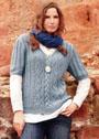 Для полных дам. Шерстяной пуловер с миксом узоров. Спицы
