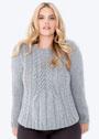 Мода PLUS. Светло-серый кашемировый пуловер с косами. Спицы