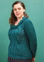 Для пышных дам. Зеленый пуловер с крупными косами. Спицы