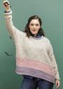 Для пышных дам. Трехцветный свободный пуловер с полосами разной ширины. Спицы