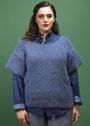 Для полных дам. Шерстяной синий пуловер с короткими рукавами. Спицы