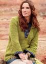 Для полных дам. Зеленый пуловер с контрастной вставкой. Спицы