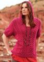 Для полных дам. Малиновый пуловер с объемными косами и капюшоном. Спицы