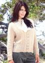 Большие размеры. Бежевый пуловер с узором из листьев. Спицы