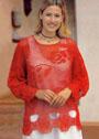 Для полных дам. Красный филейный пуловер с розами. Крючок
