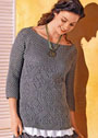 Большие размеры. Пуловер с сочетанием ажурного и сетчатого узоров. Спицы
