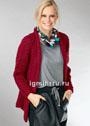 Жакет винно-рубинового цвета с фантазийными вертикальными дорожками. Спицы