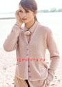 Женственный розовый жакет с карманами. Спицы