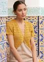 Женственный жакет-болеро золотисто-желтого цвета. Спицы