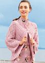 Розовый жакет-реглан с крупными ромбами. Спицы