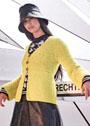 Желтый теплый жакет с миксом структурных узоров. Спицы