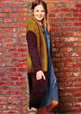 Длинный четырехцветный жакет с карманами. Спицы