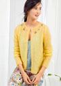 В романтичном стиле. Желтый мохеровый жакет с вышивкой. Спицы