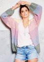 Жакет с разноцветными цветными полосами. Спицы