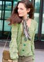 Жакет с рукавами из ажурных листьев. Спицы