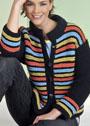 Разноцветный полосатый жакет с воротником-стойкой. Спицы