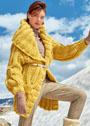 Удлиненный желтый жакет крупной вязки. Спицы