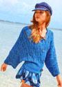 Синий жакет из кос и резинки с рукавами летучая мышь. Спицы