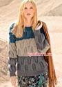 Теплый пуловер с крупным плетеным узором. Спицы