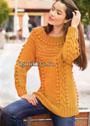 Оранжевый пуловер с круглой поперечной кокеткой. Спицы