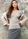 Кашемировый светло-серый пуловер с переплетениями в виде ромбов. Спицы