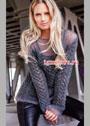 Женственный серый пуловер с ажурным узором. Спицы