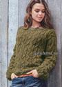 Теплый пуловер цвета хмеля с фантазийным узором. Спицы