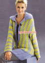 Удлиненный пуловер с узором из снятых петель. Спицы