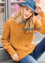 Оранжевый пуловер с диагональными вставками и косами. Спицы