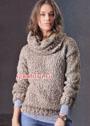 Бежевый пуловер со съемным воротником. Спицы