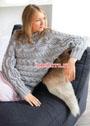 Теплый пуловер-кимоно с ажурным узором и косами. Спицы