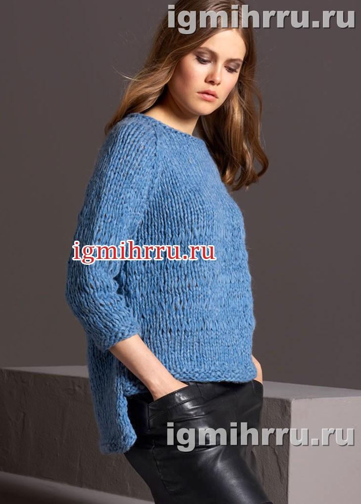 пуловер реглан с удлиненной спинкой связанный на толстых спицах