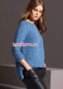 Пуловер-реглан с удлиненной спинкой, связанный на толстых спицах. Спицы