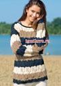 Полосатый пуловер с ажурным узором из ромбов. Спицы