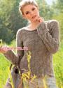 Теплый нежный пуловер со сплошным узором из ромбов. Спицы