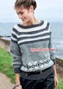 Пуловер с полосатой кокеткой и норвежскими звездами. Спицы