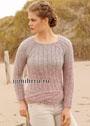 Лаконичный пуловер в розово-серых тонах с нижней косой. Спицы