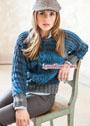 Шерстяной пуловер с рукавами летучая мышь. Спицы