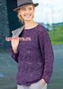 Фиолетовый пуловер с ажурным узором. Спицы