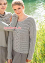 Ажурный пуловер серебристо-серого цвета. Спицы