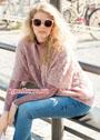 В стиле oversize. Розовый ажурный пуловер. Спицы