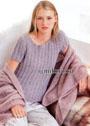 Розово-серый меланжевый пуловер с короткими рукавами. Спицы