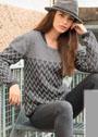 Теплый серый пуловер с узором из снятых петель. Спицы