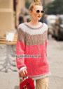 Мохеровый пуловер-реглан с кокеткой из патентной резинки. Спицы