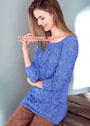 Женственный голубой пуловер с ажурным узором. Спицы