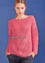Розовый пуловер с диагональной косой. Спицы