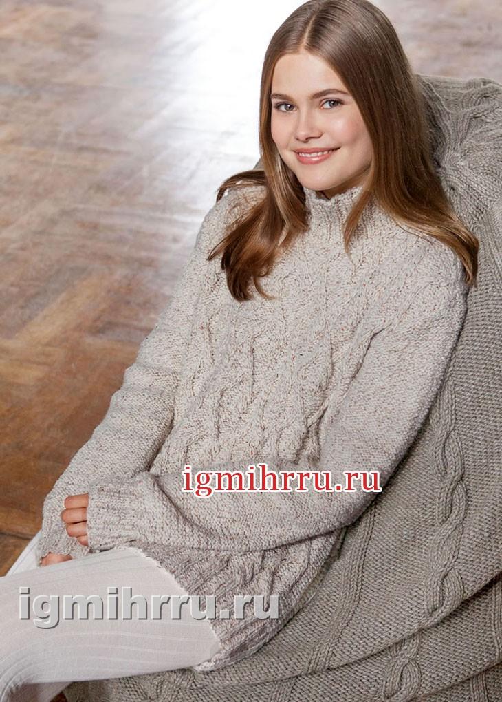 Пуловер с косами и ромбами