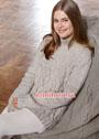 Светлый меланжевый пуловер с косами и ромбами. Спицы