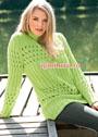 Пуловер цвета лайма с ажурными узорами и резинкой. Спицы